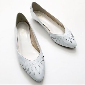 Vintage White Woven Leather Pointy 80s Flats 7 7.5